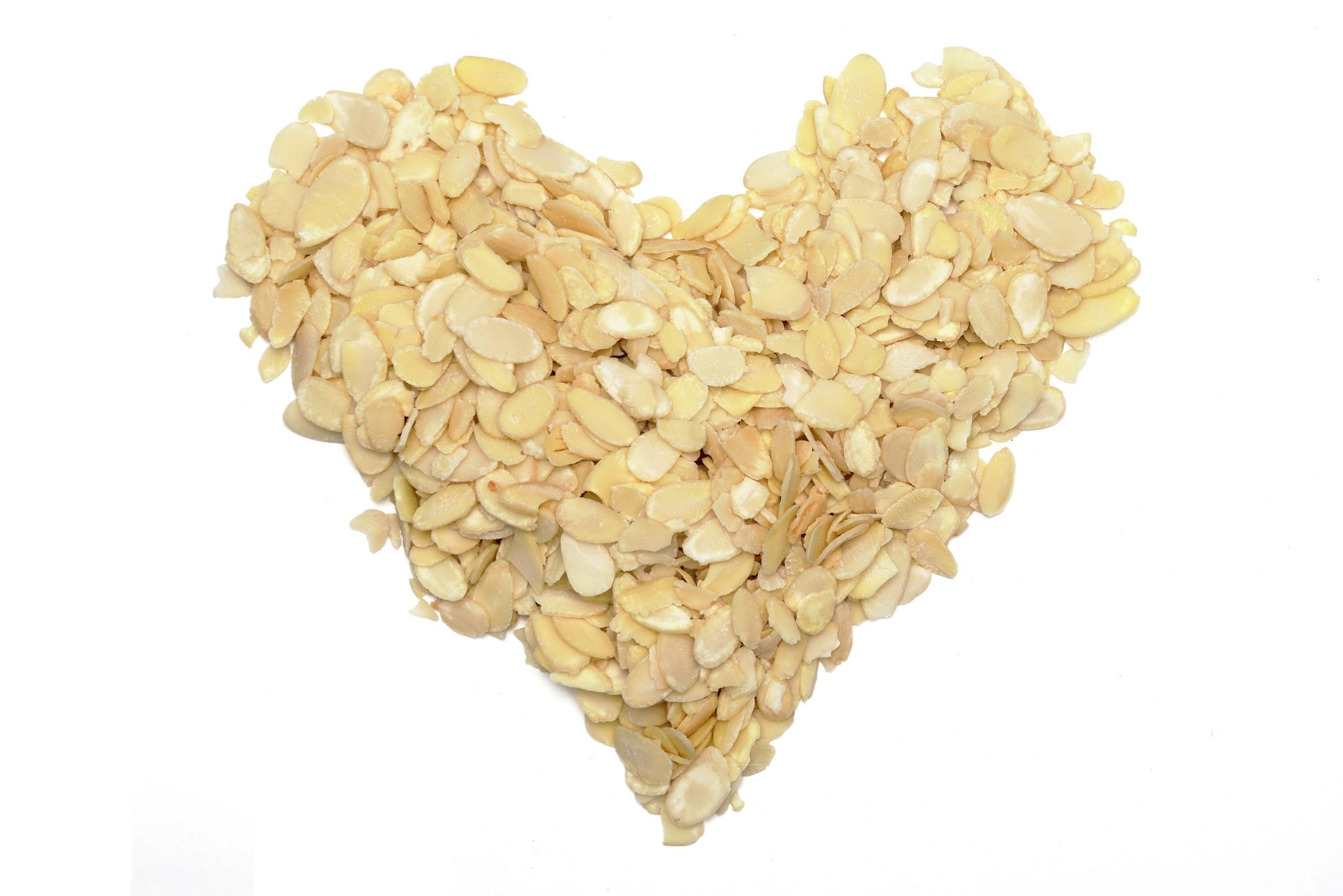 chandras blanched sliced almonds in a heart shape