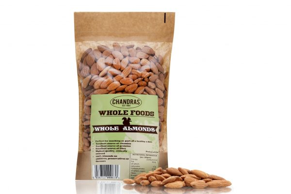 Chandras almonds in a packet