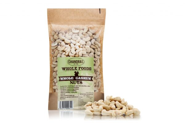 Chandras cashew nuts in a packet