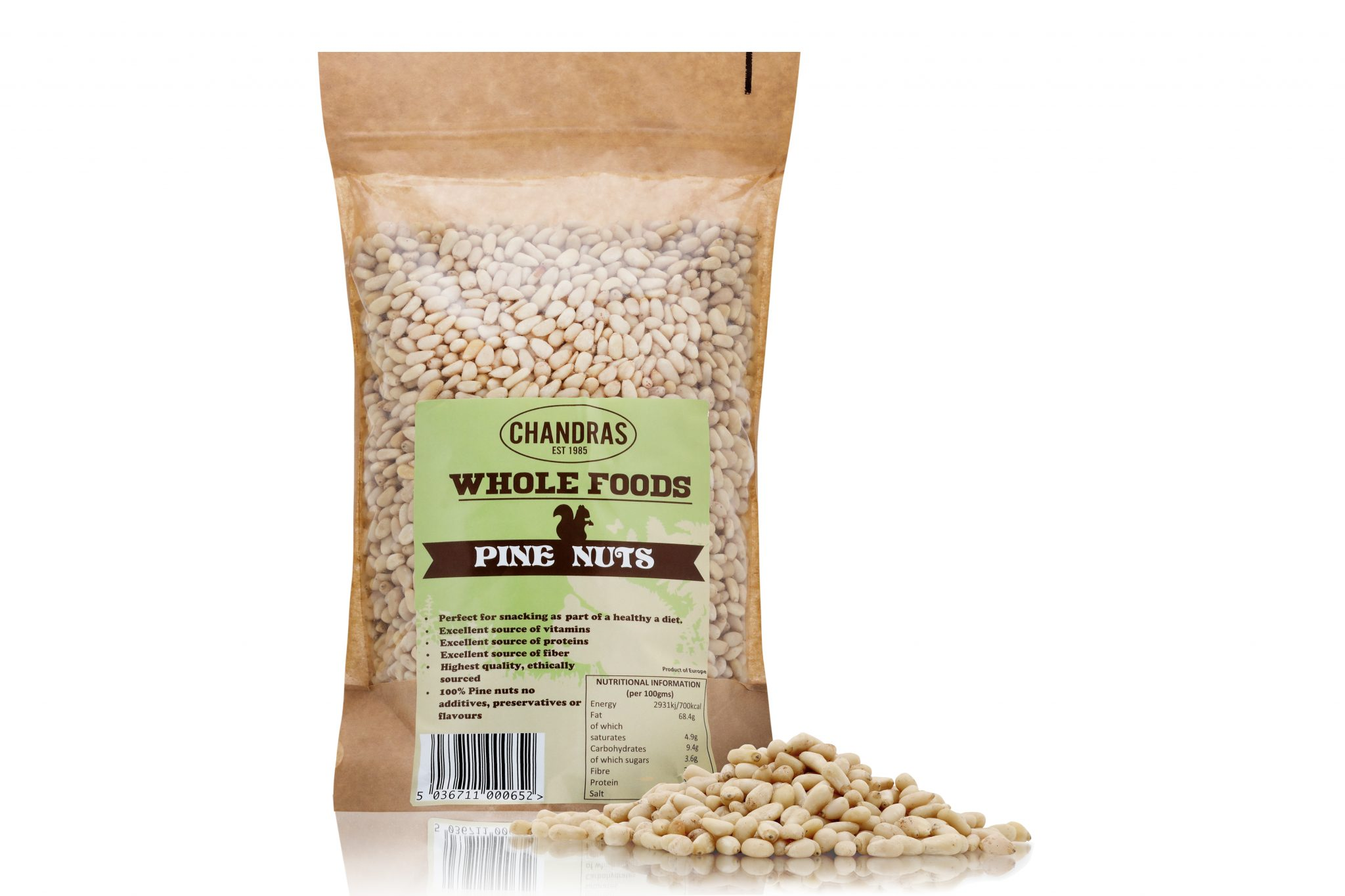 Chandras healthy vegan snack pine nuts in a packet