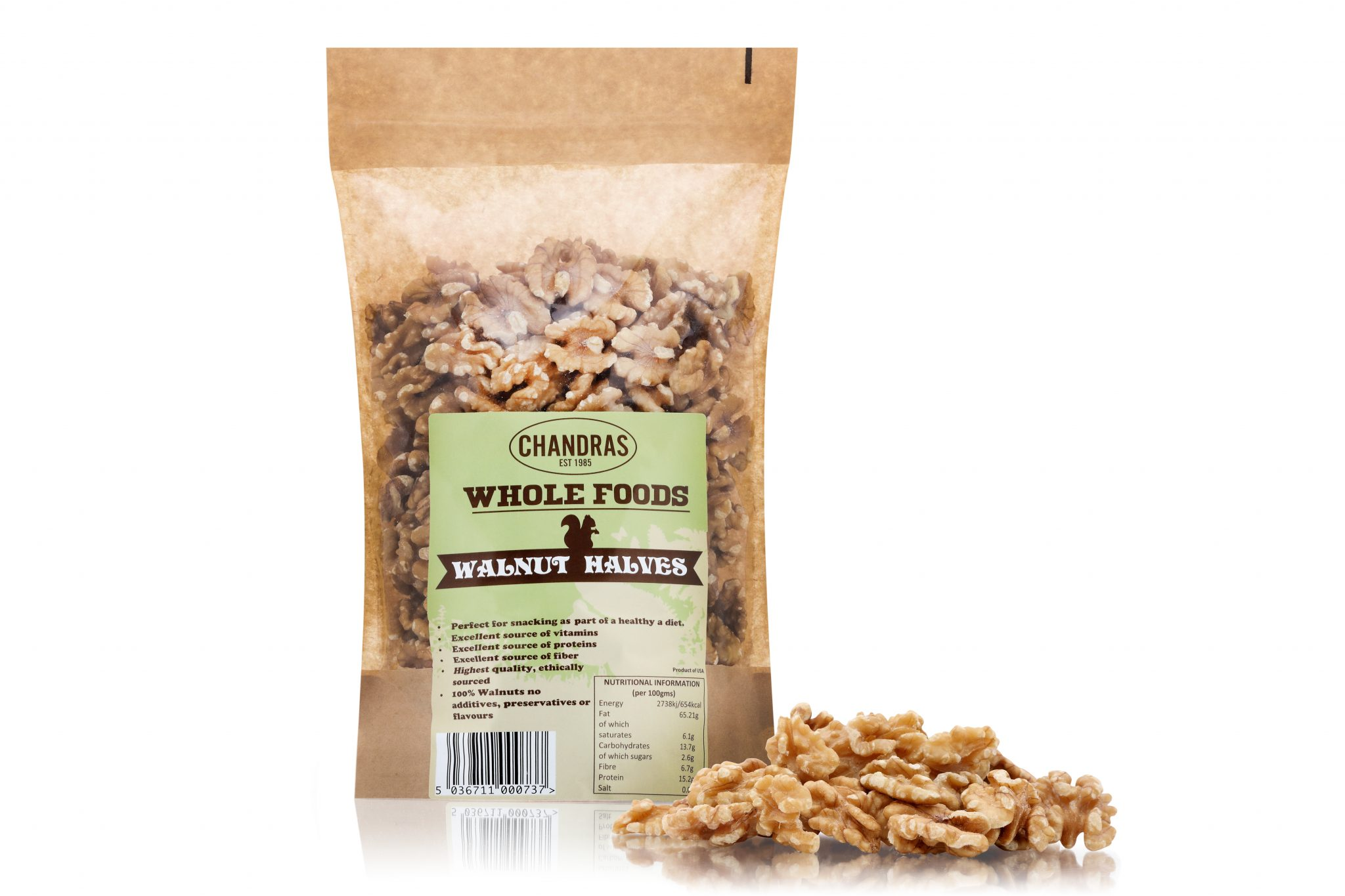 Chandras healthy vegan snack walnut halves in a packet