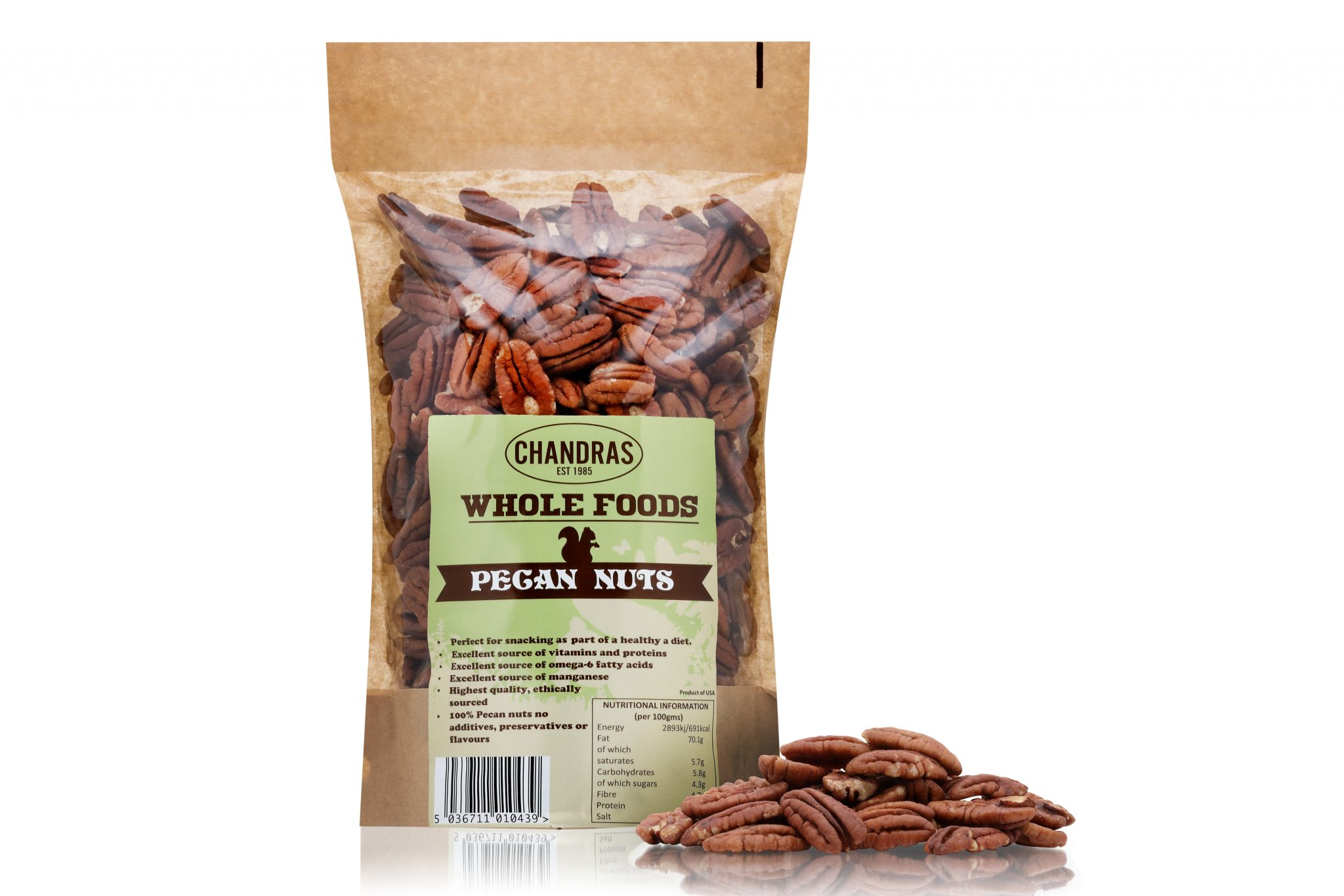 Chandras healthy vegan snack pecan nuts in a packet