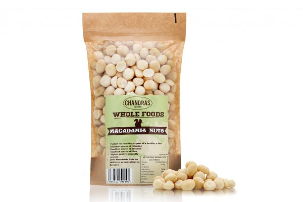 Chandras healthy vegan snack macadamia nuts in a packet