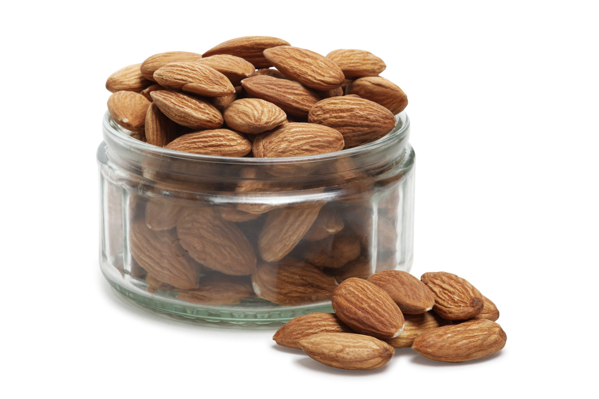 chandras healthy vegan snack almonds in a glass