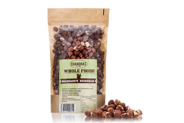 Chandras healthy vegan snack hazelnuts in a packet
