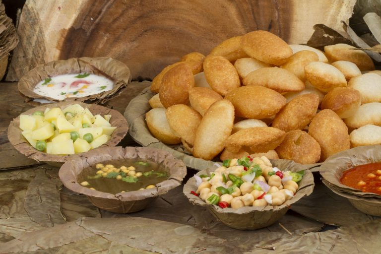 Pani Puri, indian starters along with its side dishes